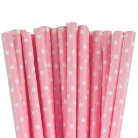 Cannucce di carta rosa e bianche